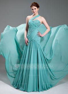 Evening Dresses - $162.99 - A-Line/Princess One-Shoulder Court Train Chiffon Evening Dress With Ruffle Beading Appliques (017019733) http://jjshouse.com/A-Line-Princess-One-Shoulder-Court-Train-Chiffon-Evening-Dress-With-Ruffle-Beading-Appliques-017019733-g19733