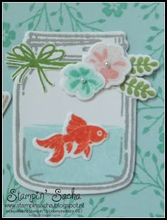 Stampin' Up! Lazy Sunday: Jar of Love verjaardagskaart. (Pin#1: Animals... Pin+: Mason Jars; Children-General).