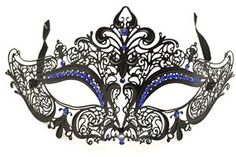 Black Metal Venetian With Blue Crystals Mask #Halloween #mask #venetian #masquerade