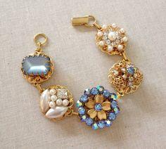 Vintage Earring Bracelet light sapphire by ChicMaddiesBoutique