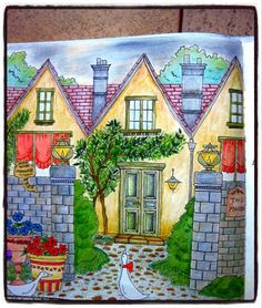 Romantic Country coloriage fait essentiellement au cdc stabilo Carbothello.