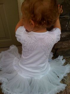 The Tiny Hiney Silver Studded Angel Wings Ruffle Tee