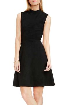 Vince Camuto Houndstooth Jacquard Fit & Flare Dress