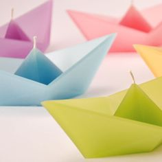 "oragami ""paper boat"" floating candles"