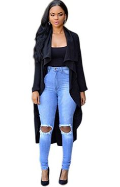 Womens Casual Cuffed Sleeve Lapel Waterfall Long Trench Coat Cardigan Jacket Black S -- Be sure to check out this awesome product.