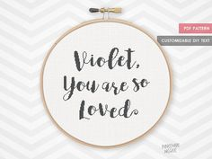 YOU are SO LOVED customizable counted cross stitch pattern customisable nursery decor new baby girl or boy custom shower gift typography pdf