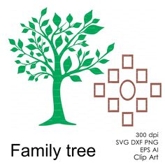 Family tree frame svg dxf ai eps png Clipart от EasyCutPrintPD