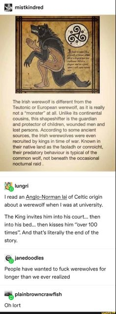 """& mistkindred The lnsh werewolf different from the Teutonic or European werewolf. as it IS really not a """"monster"""" a! all, Unlike its continental cousins. thus shapeshifter us the guardian and protector of children. wounded men and lost persons. Werewolf Facts, Werewolf Girl, Irish Mythical Creatures, Fantasy Creatures, Mythological Creatures, Vampire Mythology, Werewolf Mythology, Supernatural Facts, Personal Development"""