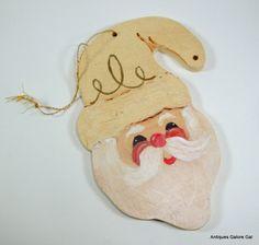 Vintage Hand Painted Santa Claus Christmas Ornament, Wood, Unfinished, DIY. $3.00, via Etsy.