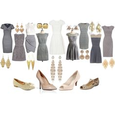 All the bridesmaid wear different dresses of grey with nude shoes<3