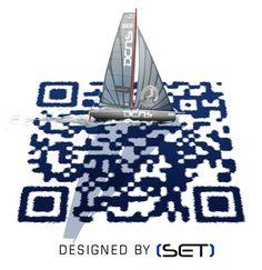 QR Code in 3D. Scansionato indirizza ad un sito francese. QR Code non semplici quadratini neri e bianchi - - -QRcode Artistic designed by SET for DCNS (via Bookbeo). It works !!