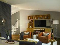 Danville Remodel - living room - San Francisco - Fiorella Design Love the brick wall color choice! #remodelinglivingroom