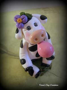 polymer clay cow ~ by Trina's Clay Creations