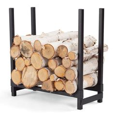 Plow & Hearth Curved Wood Rack with Decorative Finials - Powder Coated Tubular Steel and Wrought Iron with Stainless Steel Hardware - Black Finish - x x Indoor Firewood Rack, Firewood Stand, Firewood Holder, Firewood Storage, Curved Wood, Wood And Metal, Range Buche, Log Holder, Tubular Steel