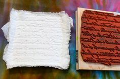 toilet paper + water + rubber stamp = amazing embellishments! tried and true!! cute idea