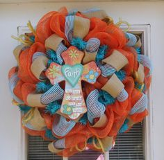 Deco Mesh Wreath with Cross Spring/Easter by HolidaysAreSpecial, $70.00