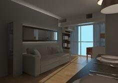 Projecto de reforma integral apartamento em Vila Nova Conceição (SP) de 55 mq. Soluções de moveis dinâmicos que se transformam. Detalhe da Sala com sacada.