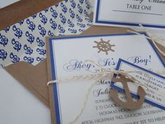 Anchor Invitations for Nautical Baby Shower or Birthday - Made to Order. $85.00, via Etsy.