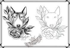 English Bullterrier tattoo sketch