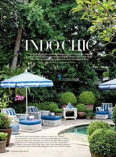 The Glam Pad: Decorating with Blue and White Outdoors
