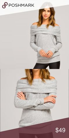 Heather grey super soft blanket sweater Loose fit, off shoulder, long sleeve tunic top. Has waistband. Folds over at shoulder. This tunic top is made with a heavyweight, brushed french terry fabric that has a very soft fuzzy texture, drapes well, is very warm, and stretches well. Fabric : 29% Polyester, 68% Rayon, 3% Spandex Sweaters