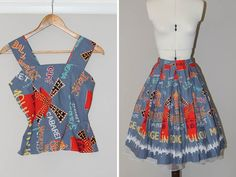 1950s Fit and Flare Novelty Print Dress. by PorterVintageClothes