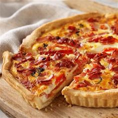 Bacon and Double Cheese Quiche pinned for basic recipe. Will use better quality bacon and would also be good w/asparagus or mushrooms or chives etc. A million possibilities. LT