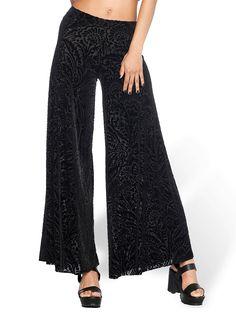 Burned Velvet Damask Flare Pants - LIMITED (WW $99AUD / US $80USD) by Black Milk Clothing