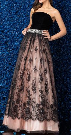 TS Couture® Formal Evening Dress Plus Size / Petite Ball Gown Strapless Floor-length Lace / Velvet with Lace / Crystal Brooch Formal Evening Dresses, Evening Gowns, Strapless Dress Formal, Prom Dresses, Formal Gowns, Lovely Dresses, Beautiful Gowns, Beautiful Outfits, Maxi Dresses