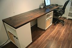 DIY desk. Looks very easy and convenient for all the appliances I need a desk for - laptop, printer, multiple typewriters, sewing machine, serger, cutting board.