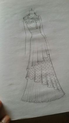 Dress Design Drawing, Dress Design Sketches, Fashion Design Sketchbook, Fashion Design Drawings, Fashion Sketches, Dress Drawing, Drawing Drawing, Drawing Clothes, Dress Designs