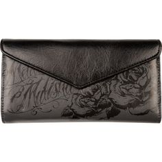 METAL MULISHA Amaretto Wallet ($9.97) ❤ liked on Polyvore featuring bags, wallets, clutches, purses, accessories, black, metal mulisha wallet, logo bags, vegan leather bags and vegan bags