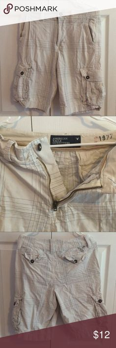 AE white shorts White cargo shorts, decent condition. Mens waist size 28 American Eagle Outfitters Shorts Cargos