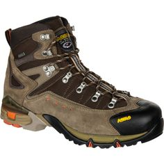 The Asolo Men's Flame GTX Hiking Boot uses a blend of water-resistant suede and high-tenacity nylon to withstand all the abuses of a season in the backcountry. If any moisture manages to get through the tough exterior, it's stopped cold by the waterproof breathable Gore-Tex insert. Asolo used a Matrix sole with Active Heel Support to make the Flame GTX Hiking Boot a solid choice when you have to carry a lot of gear or travel on rough terrain.