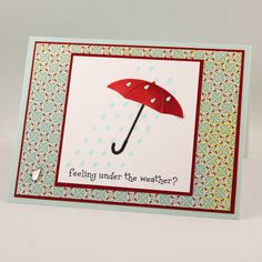 Get Well Soon Card Handmade Get Well Card Under the by TrioCards, Memory Box die umbrella