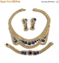 ❘❘❙❙❚❚ ON SALE ❚❚❙❙❘❘     This is a gorgeous Rhinestone BIB Necklace, Bracelet and Earrings Set Sapphire Blue & Aurora Borealis Vintage Czechoslovakia!   The necklace in th... #czechoslovakia #ecochic #vogueteam