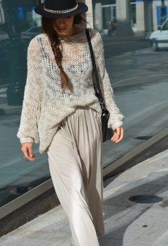 свитер oversize с длинной юбкой