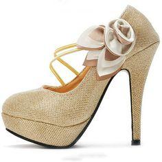 Gold Closed Toe Stiletto Heels | Sprence