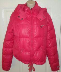 Hollister Betty Down Puffer Jacket Coat Bright Pink Fuschia Nice Warm Med M