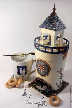 """Купить Чайный домик """"Маяк"""" - круглый - лимонный, синий, чайный домик, домик для чая, маяк"""