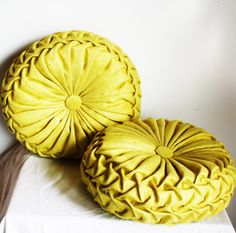 Made to Order- Handmade Vintage Inspired Round Smocked Decorative Pillows Dupion Silk Chartreuse Nate Berkus, Nostalgia, Sweet Memories, Childhood Memories, Pinup, Oldies But Goodies, Vintage Pillows, Good Ole, Mellow Yellow