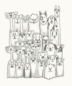 cane: Doodle disegnato a mano Funny Dogs Set, illustrazione vettoriale. Vettoriali