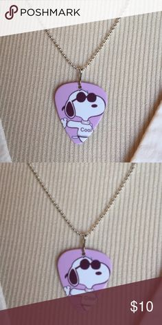 """(4) Design to Choose From! Snoopy Pick Necklace Snoopy Guitar Pick Necklace New Stainless Steel 18-20"""" Chain~If you would like more than one and it will not let you bundle message me below and I will make you a bundle:) Snoopy Jewelry Necklaces"""