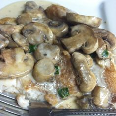 Tilapia with sour cream mushroom sauce   Rinse tilapia, pat dry. Coat tilapia in wheat flour. Pan fry until cooked through. Sauce is 1/4 cup fat free sour cream, 1 cup mushrooms, 1 tsp unsalted butter, 1/2 tsp onion, 1/2 tsp basil.