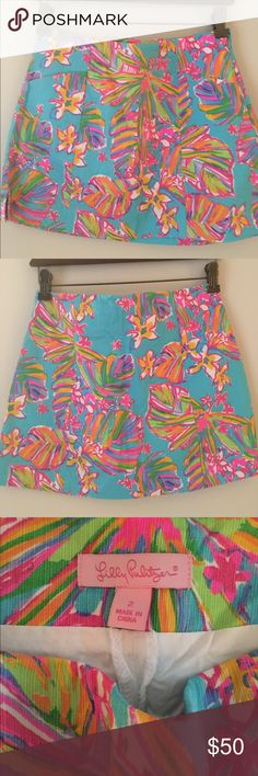 Lilly Pulitzer January skort in Summer Haze Only worn once. Adorable skort that you can wear all spring & summer long. Lilly Pulitzer Skirts Mini