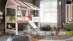 High Tree House Bed With Rope Ladder. This Luxury Tree House Bed by Lifetime is made from the best solid knot free pine and hand crafted in Denmark. Treehouse Loft Bed, Kids Bed Design, Cool Beds For Kids, Small Room Decor, Childrens Beds, Kid Beds, Bunk Beds, Kids Furniture, Furniture Cleaning