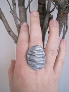 Silver texture Pebble sculpted clay ring on by sweetstellas, $25.00