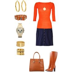 Navy skirt with orange top - Polyvore