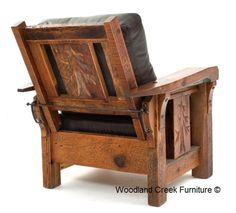 Lodge Recliner Available at Woodland Creek Furniture Craftsman Furniture, Cabin Furniture, Furniture Dolly, Pallet Furniture, Rustic Furniture, Furniture Design, Furniture Stores, Rustic Dining Chairs, Rustic Chair