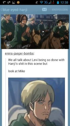 Attack on Titan, Levi, Hanji, Mike  Mike is always forgotten, but I love him, *sniff* and as per usual when I love a character they end up dying... my middle name must be Sam...